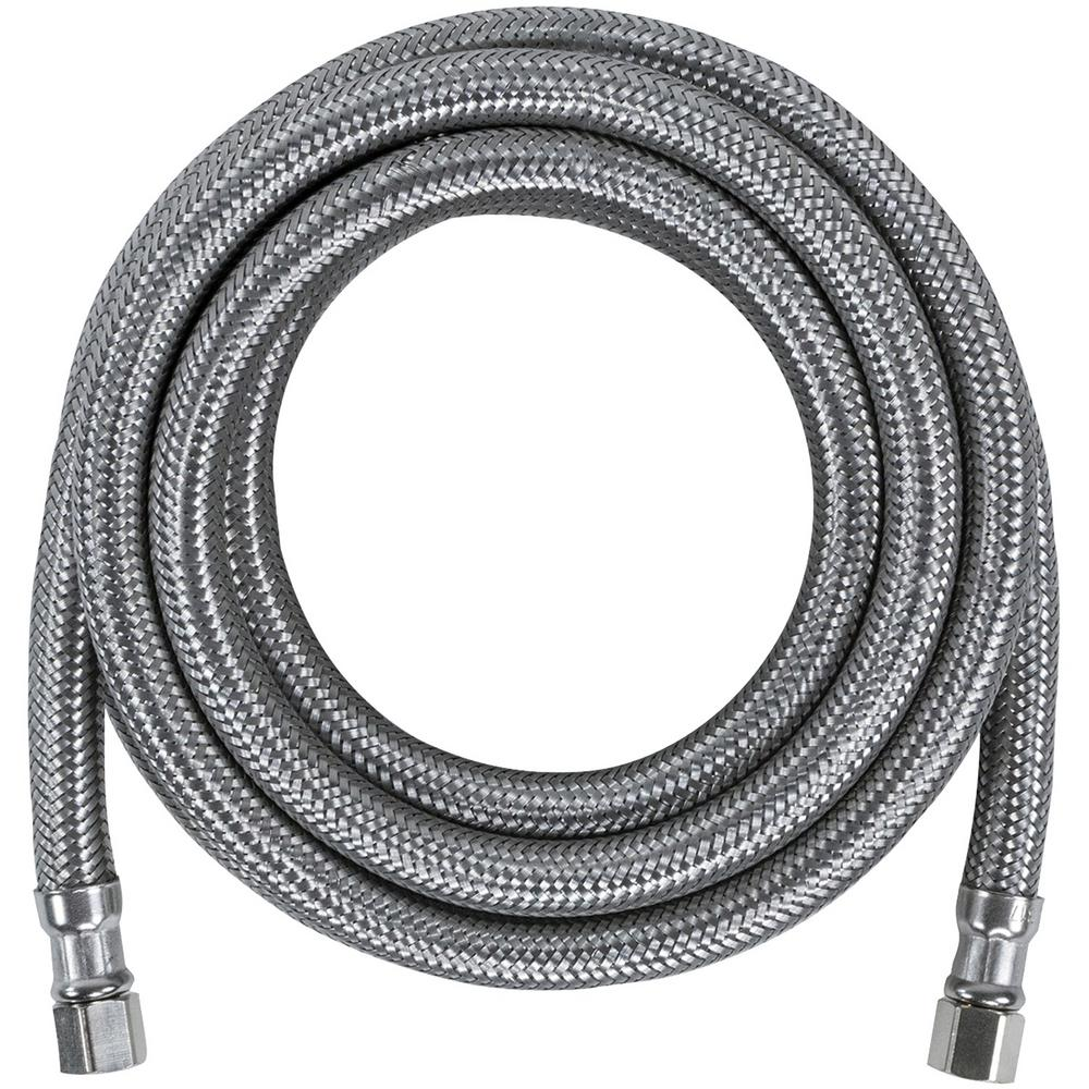 CERTIFIED APPLIANCE ACCESSORIES 10 ft. Braided Stainless Steel Ice Maker Connector, Silver For years, licensed plumbers, electricians and appliance installers have relied on CERTIFIED APPLIANCE ACCESSORIES for their power cords, hoses and connectors. Now you can too. Enjoy the convenience offered by this ice maker connector from CERTIFIED APPLIANCE ACCESSORIES. Its flexibility and durability ensure a reliable connection for your next home installation project. This hose has been thoroughly tested and is backed by a 5-year limited warranty. Check your appliance's manual for the correct specifications to ensure this is the right connector hose for you. Thank you for choosing CERTIFIED APPLIANCE ACCESSORIES Your Appliance Connection Solution. Color: Stainless Steel.