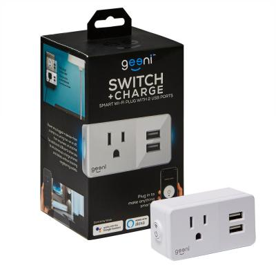 Switch and Charge Smart Wi-Fi Plug with 2-USB Ports