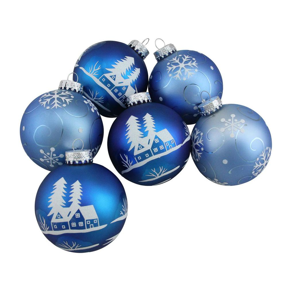 Northlight 3.25 in. (80 mm) Blue with White Glitter Designs Glass Ball Christmas Ornaments (6-Count)
