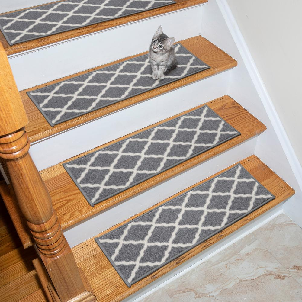 Ottomanson Glamour Collection Gray 9 in. x 26 in. Polypropylene Stair Tread Cover (Set of 14)