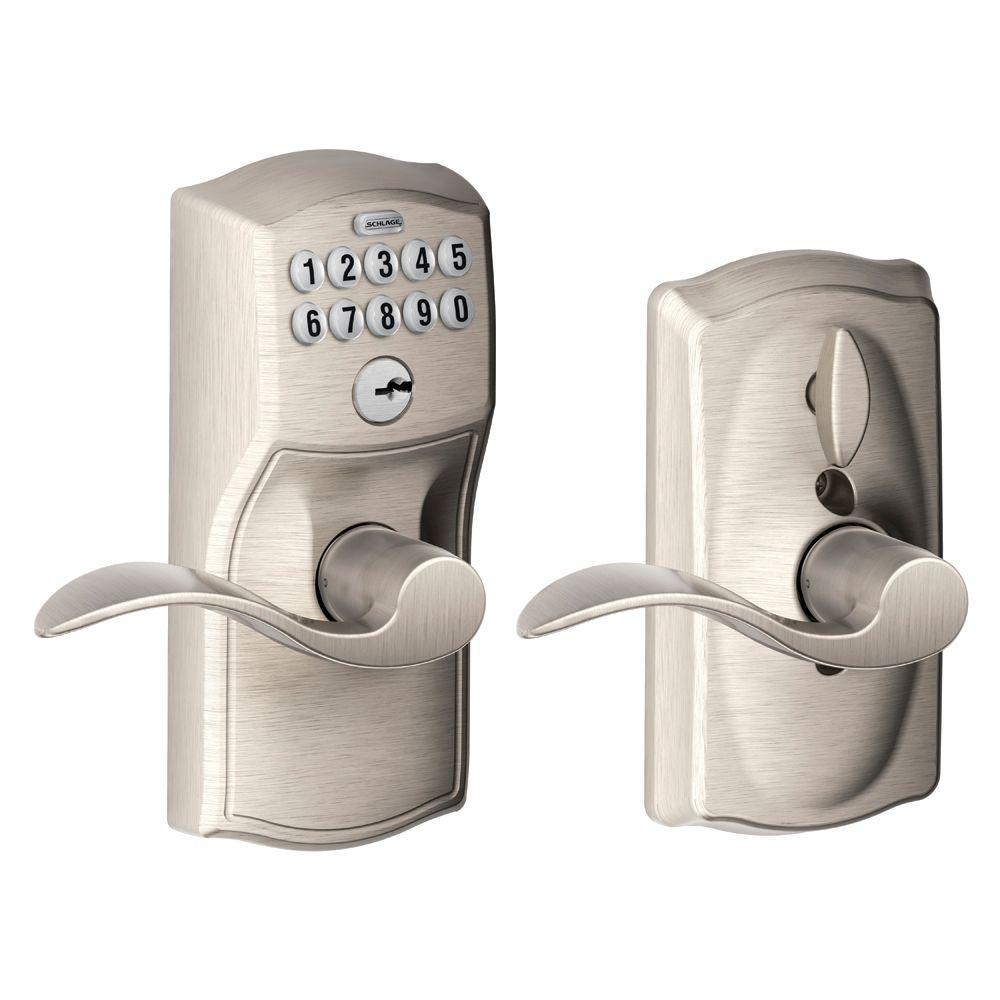 Camelot Satin Nickel Electronic Door Lock with Accent Door Lever Featuring Flex Lock