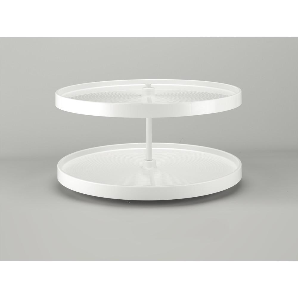 18 in. H x 32 in. W x 32 in. D White Polymer Full Circle Bottom Mount 2-Shelf Lazy Susan Set
