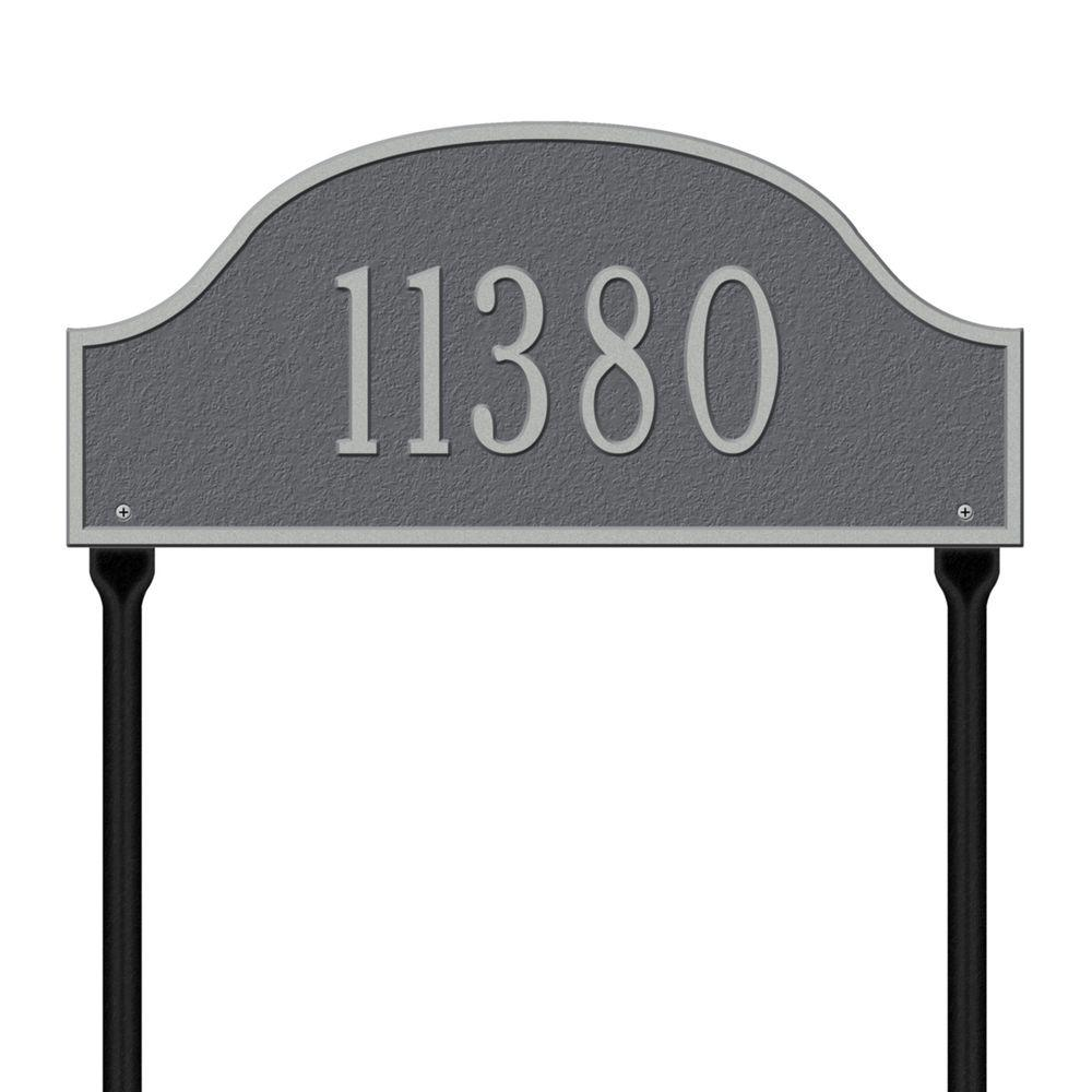 Admiral Standard Arch Pewter/Silver Lawn One Line Address Plaque
