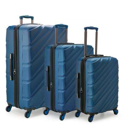 Gilmore 3-Piece Navy Expandable Hardside 4-Wheel Spinner Luggage Set with Push-Button Handle System