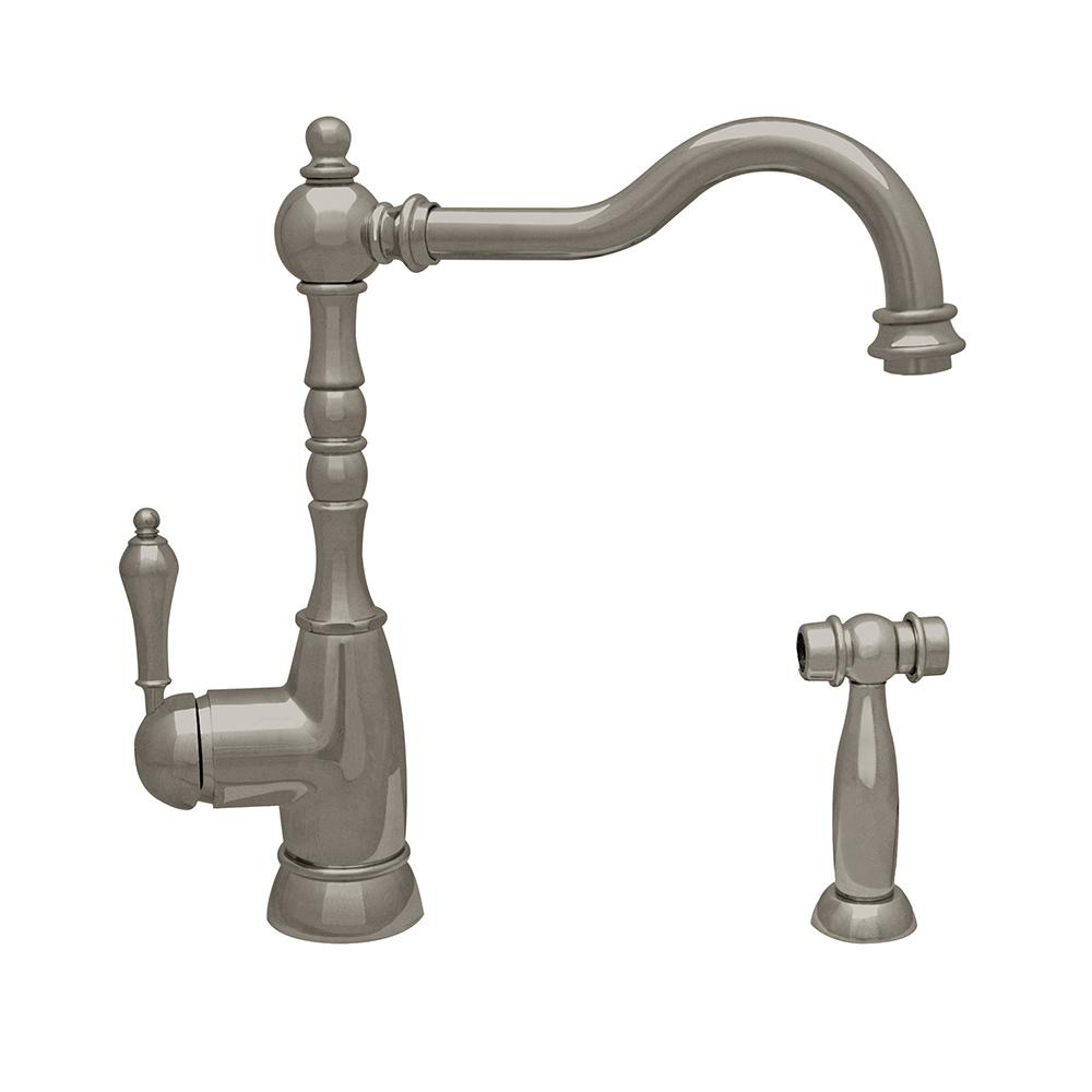 Englishhaus Single-Handle Standard Kitchen Faucet with Side Spray in Brushed