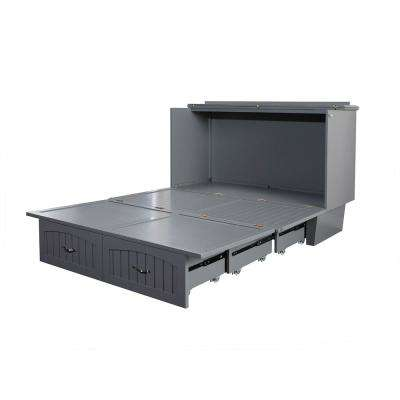 Nantucket Murphy Bed Chest Queen Grey with Charging Station and Cool Soft Mattress