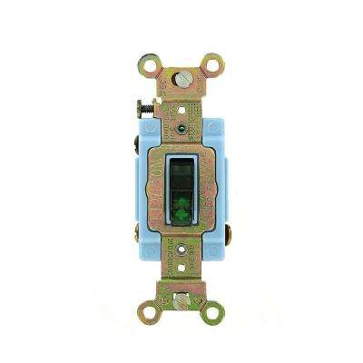 15 Amp Industrial Grade Heavy Duty 3-Way Pilot Light Toggle Switch, Green