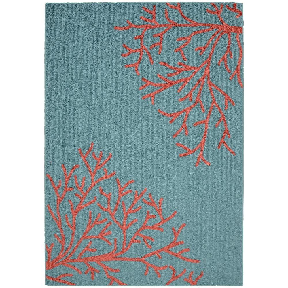 Garland Rug Sea Coral Teal/Santa Fe Coral 5 ft. x 7 ft. Area Rug ...