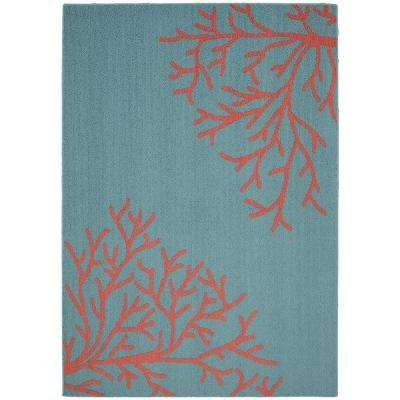 Sea Coral Teal/Santa Fe Coral 5 ft. x 7 ft. Area Rug