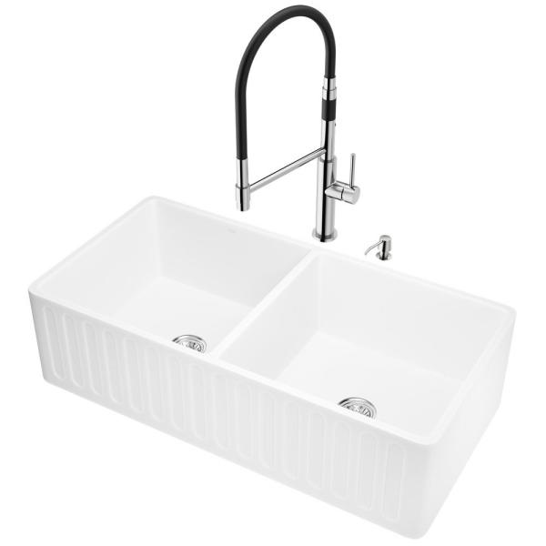 Vigo All In One Farmhouse Apron Front Matte Stone 36 In Double Bowl Kitchen Sink And Faucet Set In Stainless Steel Vg15742 The Home Depot