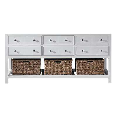 Elodie 71.2 in. W x 21.7 in. D x 33.5 in. H Bath Vanity Cabinet Only in White