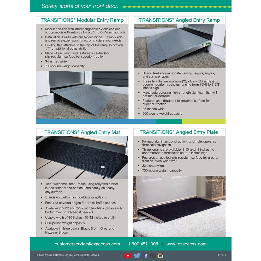 Ez Access Transitions Aluminum Threshold Ramp 17 In L X 34 In W X 3 In H Tmer 3 The Home Depot