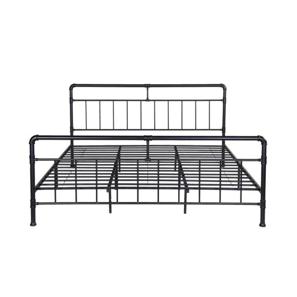 Noble House Mowry Industrial King Size Flat Black Iron Bed Frame