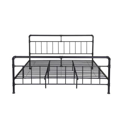 Mowry Industrial King-Size Flat Black Iron Bed Frame