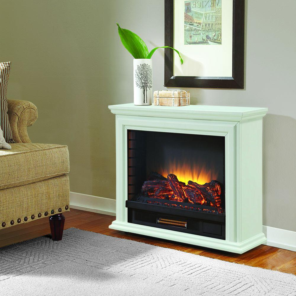 Pleasant Hearth Sheridan Mobile Fireplace in White is suitable for homes