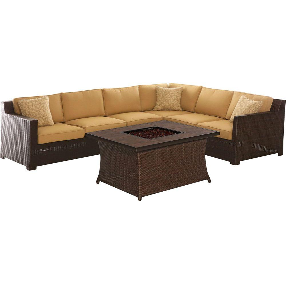 Hanover All Weather Wicker Fire Pit Seating Set Sahara Sand Cushions Porc