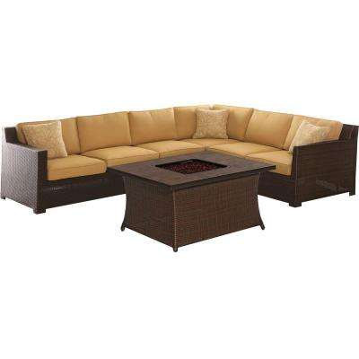 Metropolitan 6-Piece All-Weather Wicker Patio Fire Pit Seating Set with Sahara Sand Cushions and Porcelain Tile Table