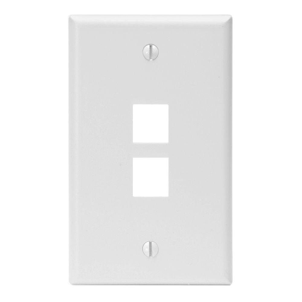 QuickPort 2-Port Midway Wall Plate - White