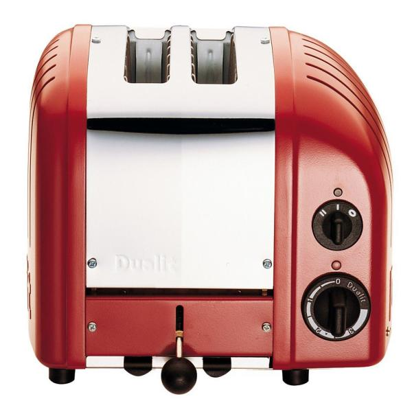 Dualit New Gen 2-Slice Red Wide Slot Toaster with Crumb Tray