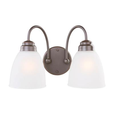 Hamilton 2-Light Oil Rubbed Bronze Vanity Light with Frosted Glass Shades