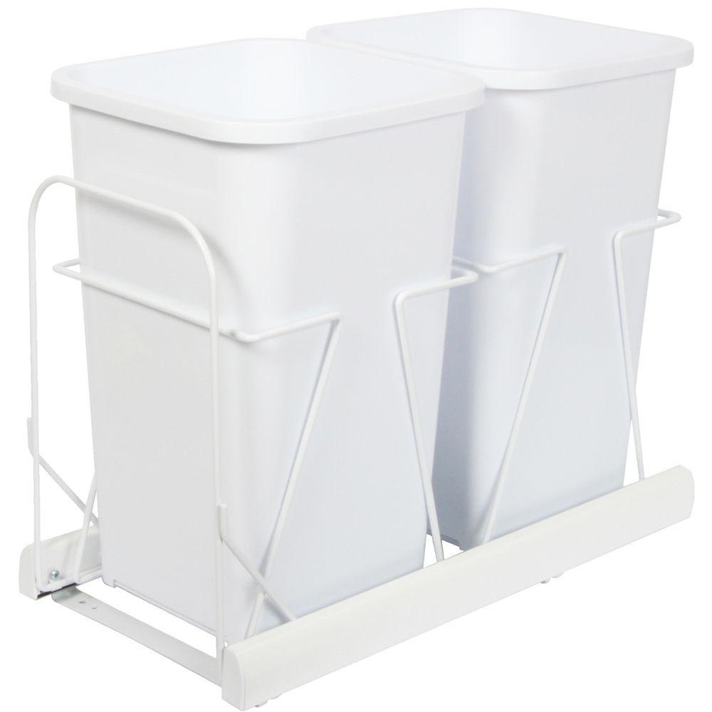 Knape & Vogt 18.81 in. x 11.75 in. x 23.13 in. In Cabinet Pull Out Bottom Mount Soft Close Trash Can