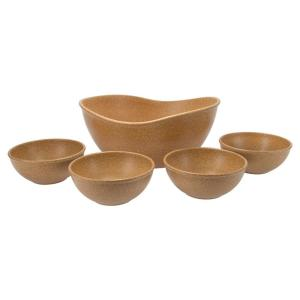 EVO Sustainable Goods Light Brown Eco-Friendly Wood-Plastic Composite Serving Bowl Set (Set of 5)