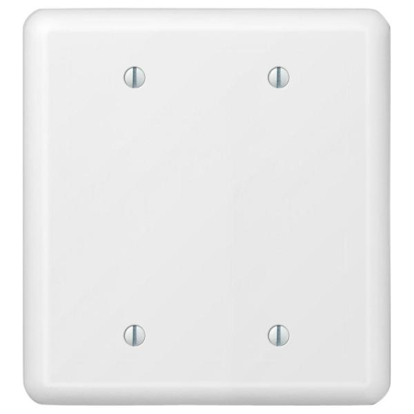Declan 2 Gang Blank Steel Wall Plate - White