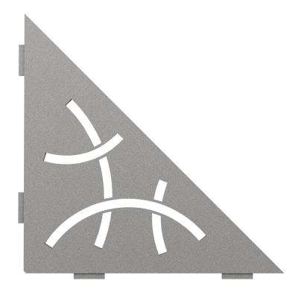 Shelf-E Stone Grey Coated Aluminum Curve Triangular Corner Shelf