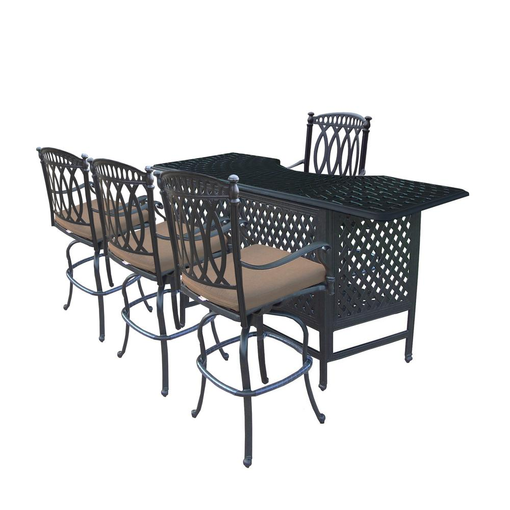 Morocco 5 Piece Aluminum Outdoor Serving Bar Set With Sunbrella Brown  Cushions