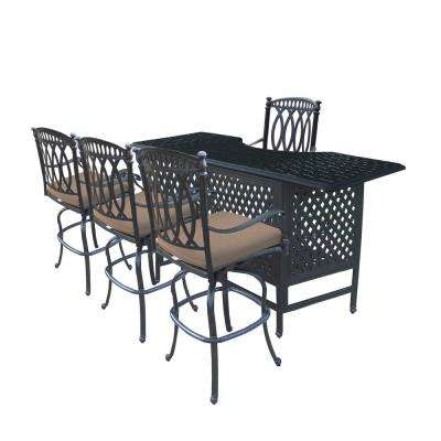 Morocco 5-Piece Aluminum Outdoor Serving Bar Set with Sunbrella Brown Cushions