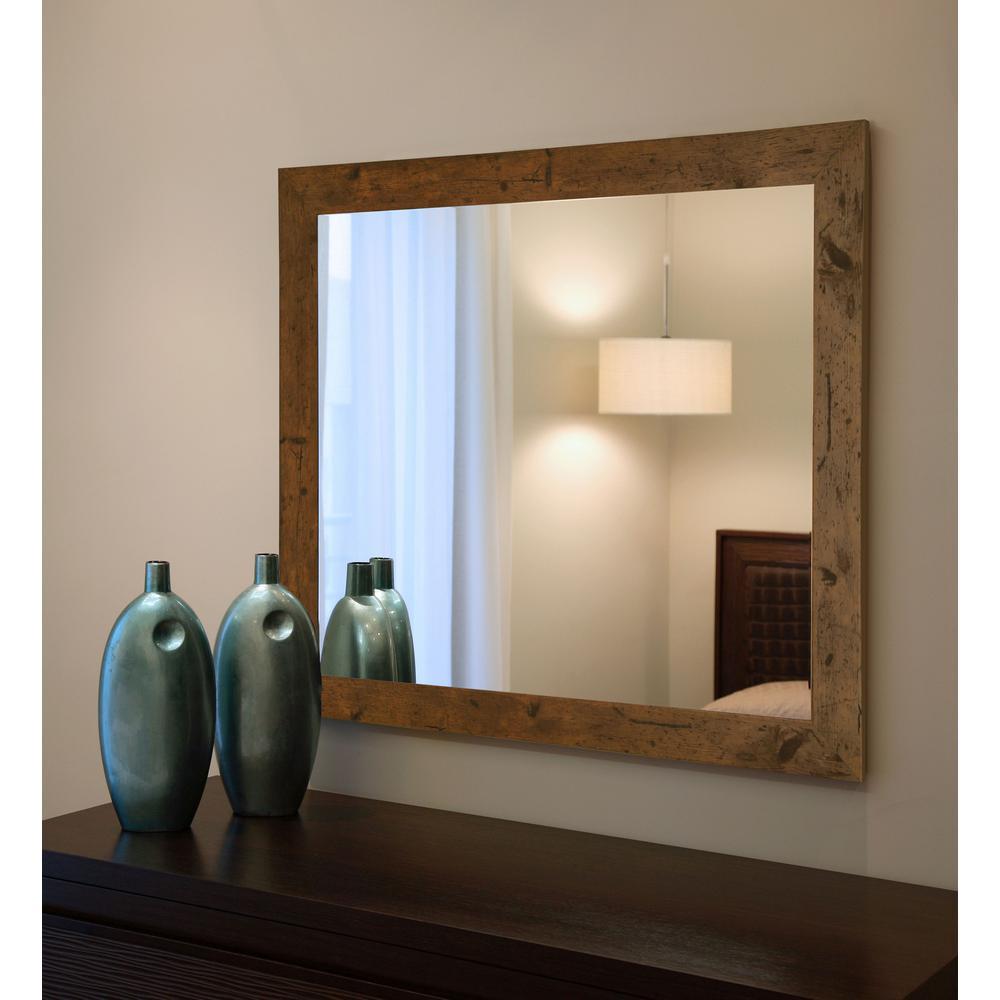 25.5 in. x 21.5 in. Rustic Light Walnut Non-Beveled Vanity Wall Mirror