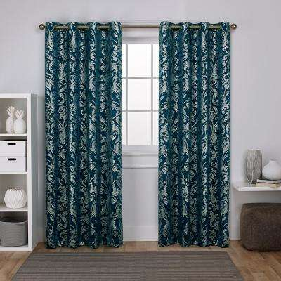 Watford 52 in. W x 96 in. L Woven Blackout Grommet Top Curtain Panel in Peacock Blue, Silver (2 Panels)