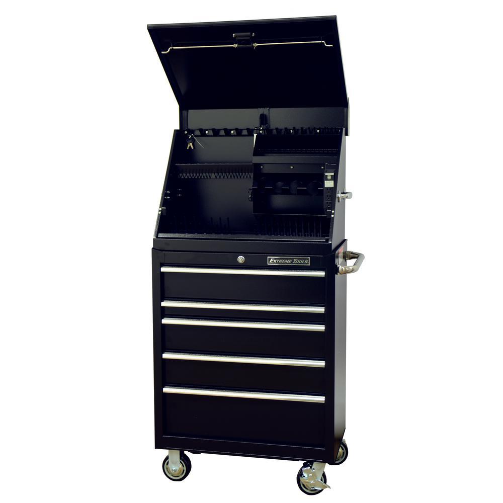 30 in. Portable Workstation and 5-Drawer Standard Roller Cabinet Combination, Black