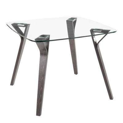 Folia Mid-Century Dark Grey Wood and Clear Glass Top Modern Square Dining Table