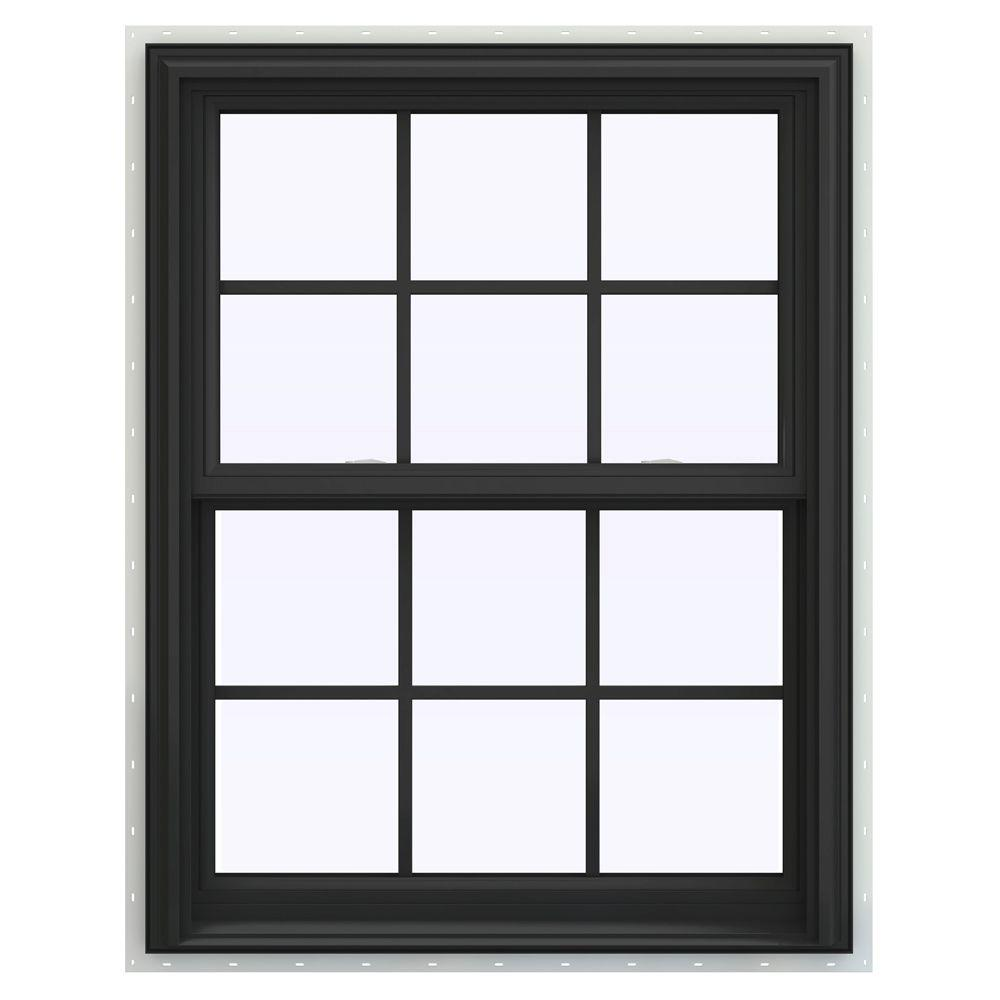 JELD-WEN 31.5 in. x 40.5 in. V-2500 Series Double Hung Vinyl Window with Grids - Bronze