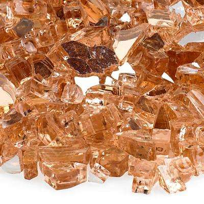 1/4 in. Champagne Reflective Fire Glass 10 lbs. Bag