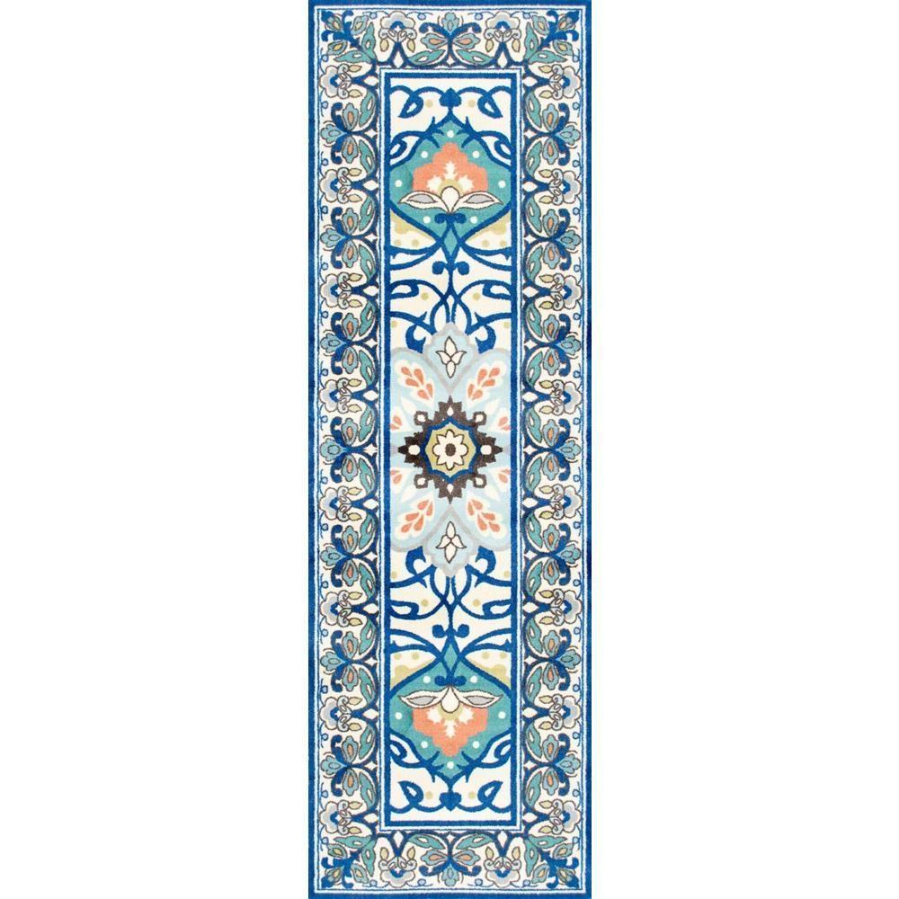 Floral Leda Blue 3 ft. x 8 ft. Runner Rug