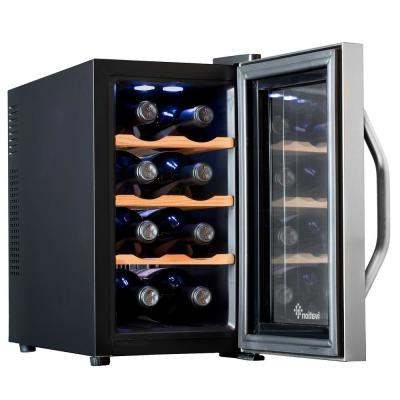 8 Bottle Premium Thermoelectric Freestanding Wine Cooler Fridge Cellar Refrigerator - Stainless Steel with Wood Shelves