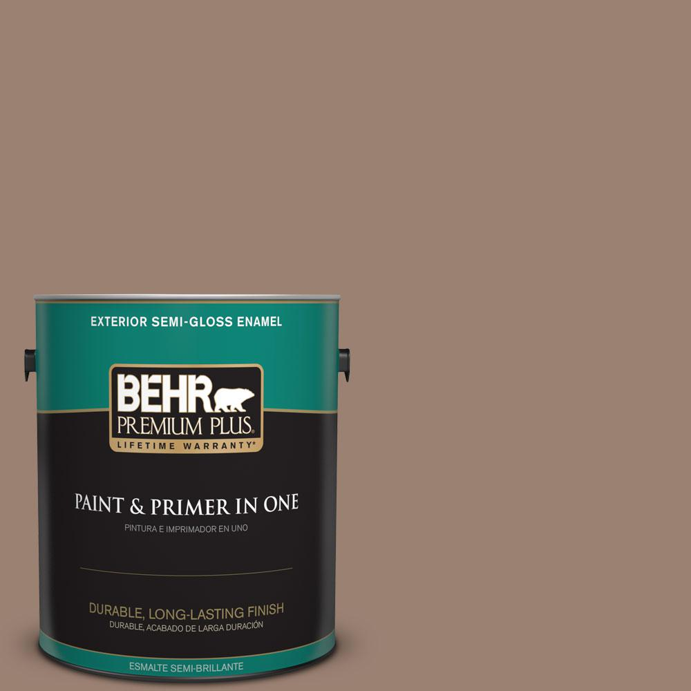 1-gal. #N190-5 Frontier Brown Semi-Gloss Enamel Exterior Paint