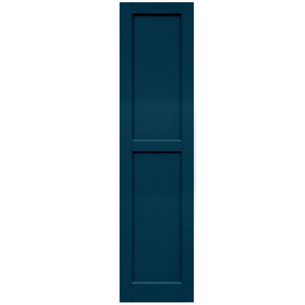 Winworks Wood Composite 15 in. x 61 in. Contemporary Flat Panel Shutters Pair #637 Deep Sea Blue