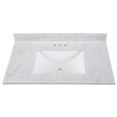 37 in. Stone Effects Vanity Top in Pulsar with White Sink