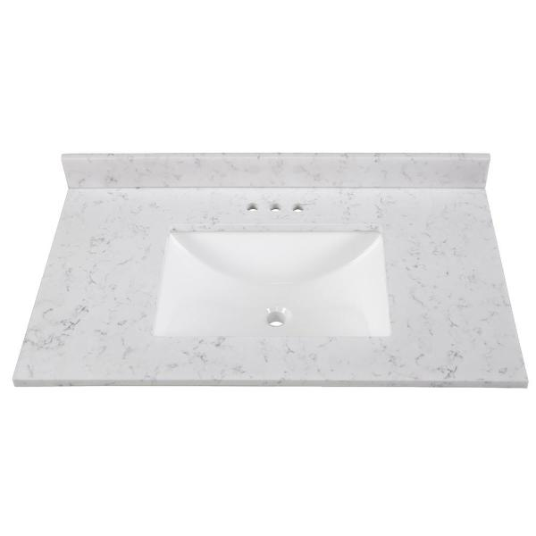 Home Decorators Collection 37 In Stone Effects Vanity Top In Pulsar With White Sink Se37r Pr The Home Depot