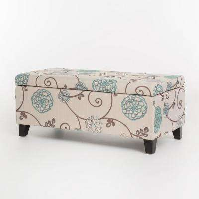Ramona White and Blue Floral Fabric Storage Ottoman