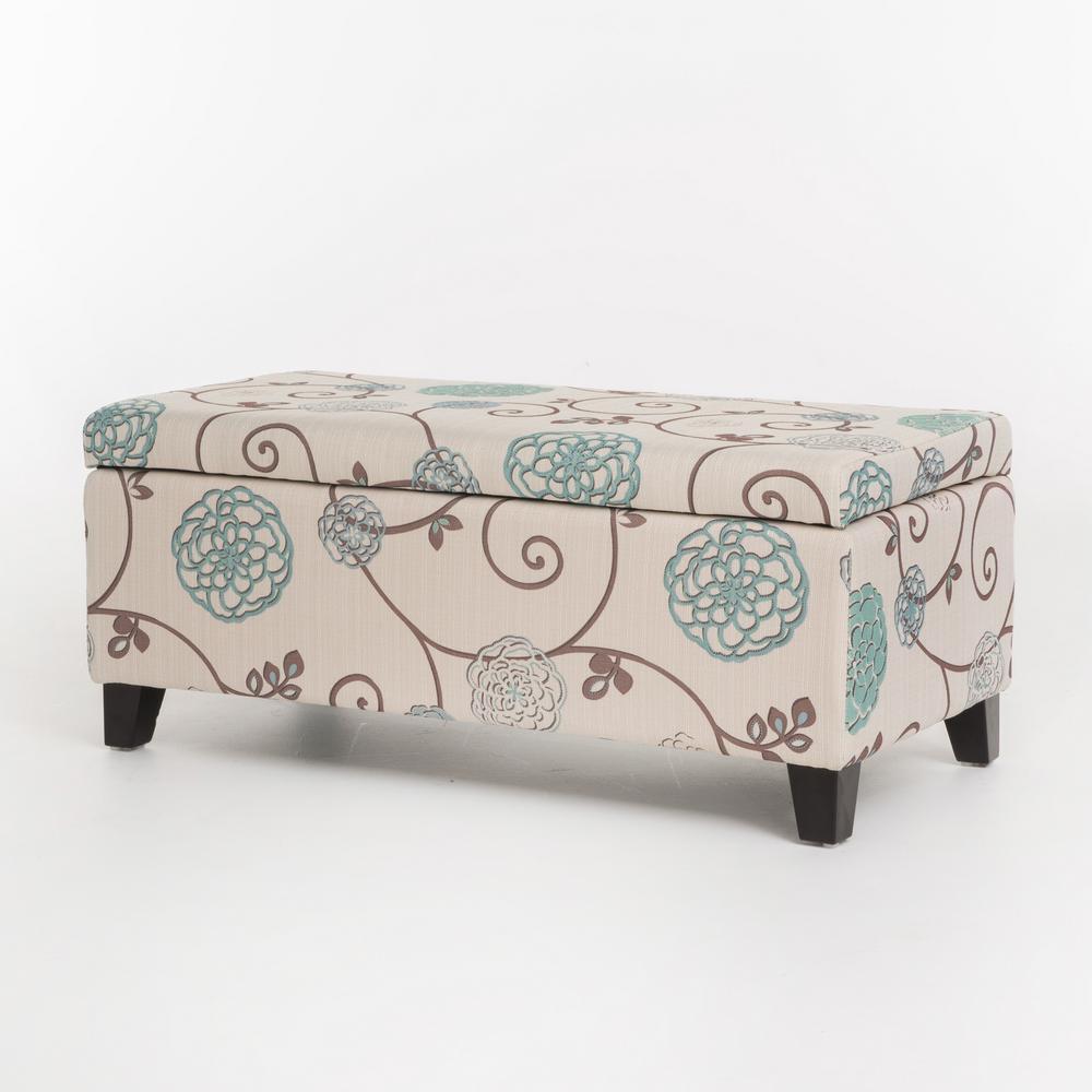 Ramona White and Blue Floral Fabric Storage Ottoman