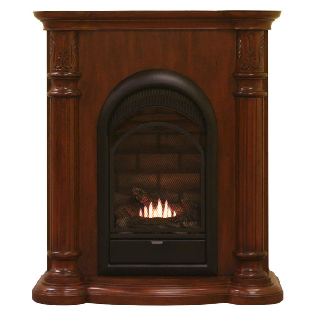 33 in 15,000 BTU Ventless Dual Fuel Fireplace in Classic Cherry