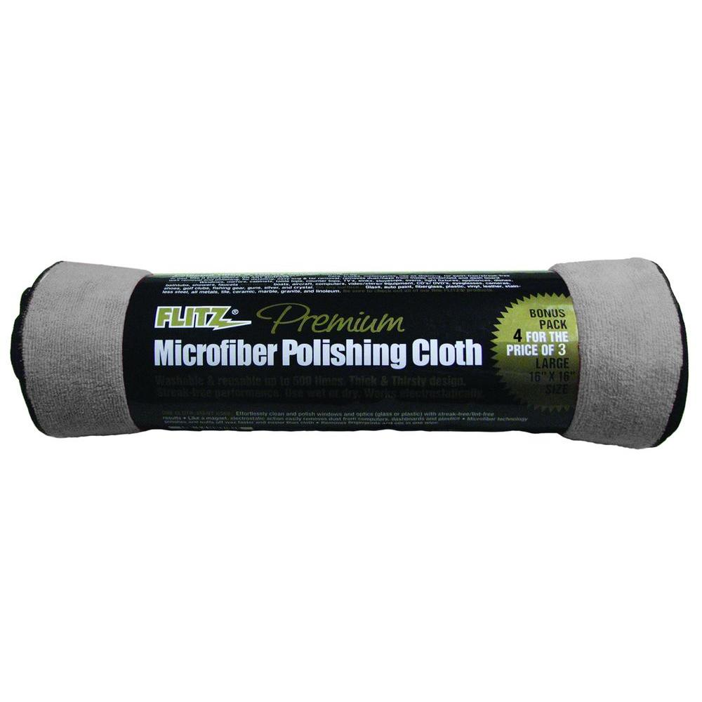 Premium 16 in. x 16 in. Microfiber Thick'n Thirsty Grey Polishing