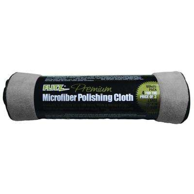 Premium 16 in. x 16 in. Microfiber Thick'n Thirsty Grey Polishing Banded Cloth (4-Pack)