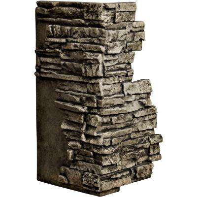 1-1/2 in. x 13-3/4 in. x 25 in. Grey Urethane Stacked Stone Outer Corner Wall Panel
