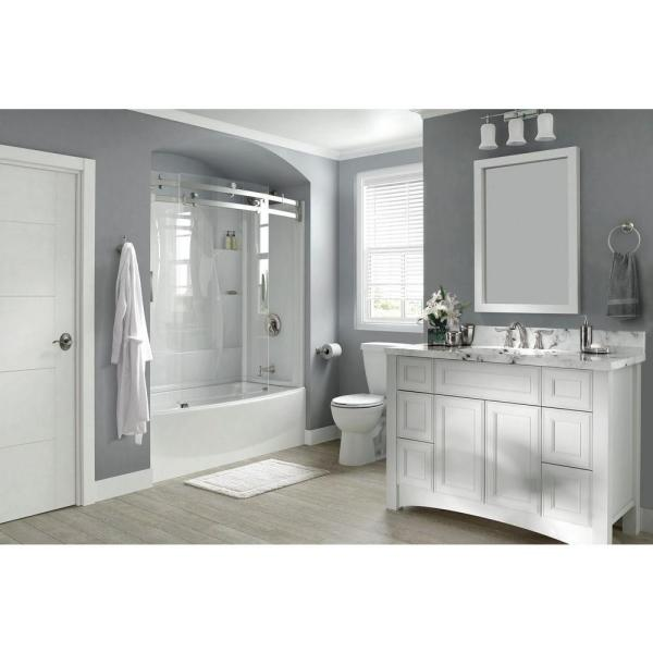 Classic 400 Curve 60 in. x 62 in. Frameless Sliding Tub Door in Stainless