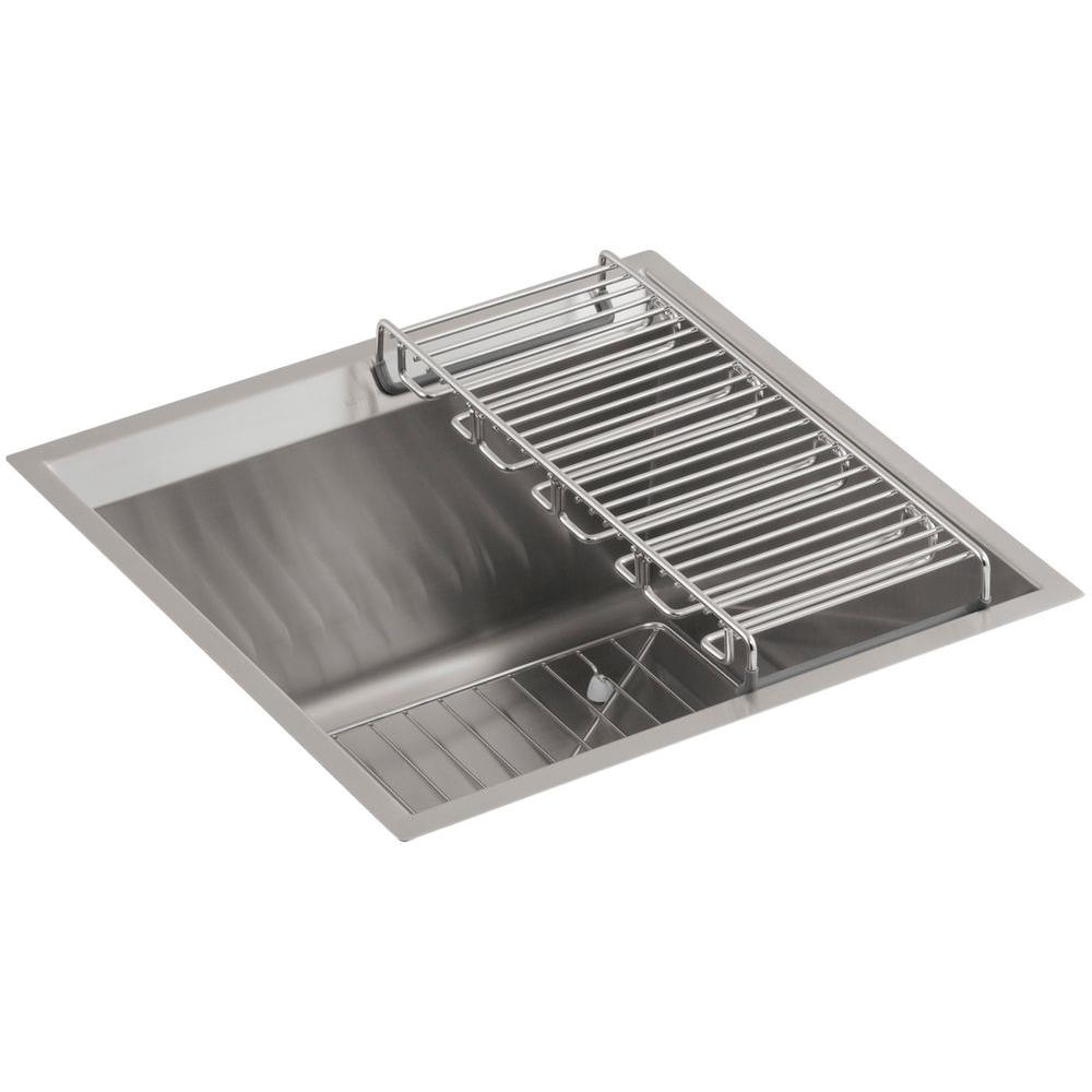 8 Degree Undermount Stainless Steel 18 in. Single Bowl Entertainment Sink